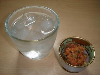 米焼酎とオモニたらこ.jpg